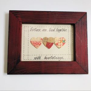 Picture Frame Art Hearts Sister Red Shabby Chic